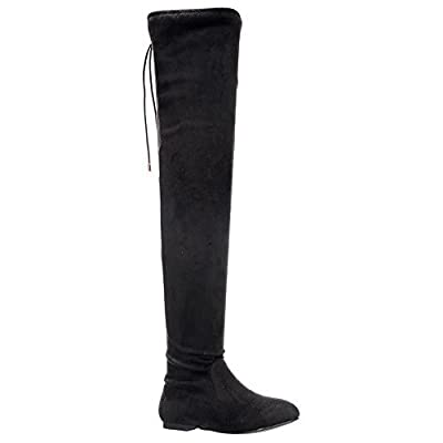 Nature Breeze Vickie-41TH Women's Stretchy Thigh High Flat Heel Boot   Boots