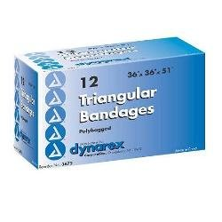 Dynarex Triangular Bandages Poly-Bagged with 2 Safety Pins, 12 Count