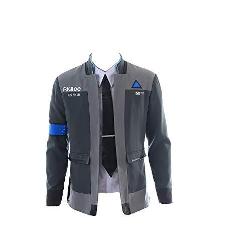 mangu COSTORY Become Human Connor Jacket Cosplay Costume Men Coat Uniform Suit (M, Coat+Shirt+tie)]()