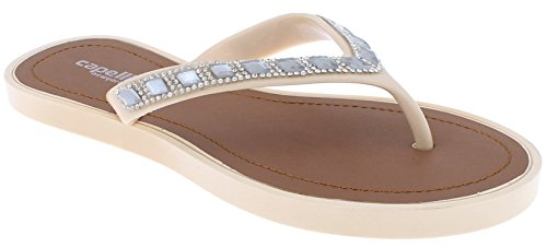 Capelli New York Ladies Fashion Flip Flops with Rhinestone and Gem Trim Nude 9 ()