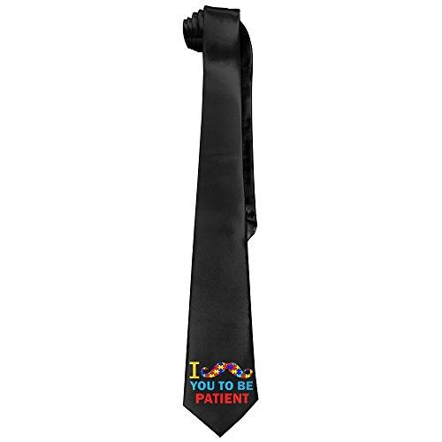 Autism I Mustache You To Be Patient Men's Tie Long Necktie Skinny Neckwear Silk