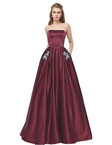 Libaosha Satin Strapless Formal Gowns with Beaded Pockets Lace Up Back Prom Dresses Long (US4, Burgundy)