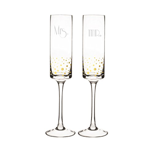 Cathy's Concepts GMM-GD3668 Mr. & Mrs. Gatsby Dotted Contemporary Champagne Flutes, Clear/Gold