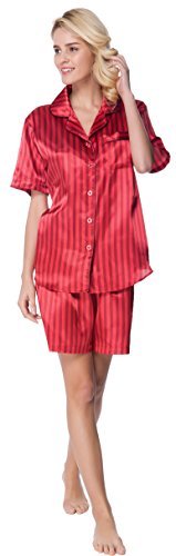 Women's Short Sleeve Classical Silky Satin Pajamas, Short Bottom Down Woven PJ Set (Medium, Red Stripes)