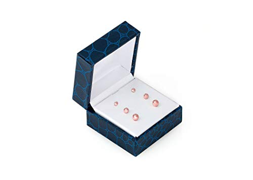 14K Solid Rose Gold Ball Stud Earrings (3-Pair-Pack) 3MM 4MM AND 5MM