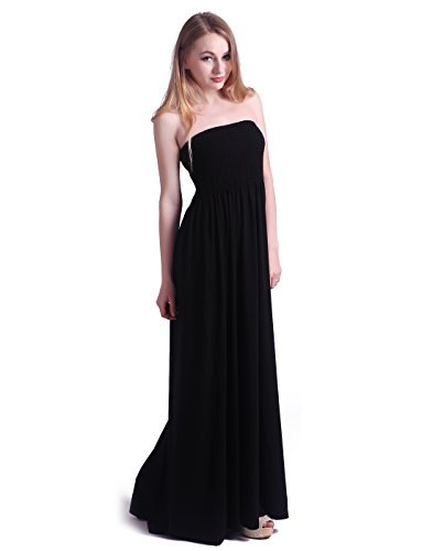 HDE Women's Strapless Maxi Dress Plus Size Tube Top Long Skirt Sundress Cover Up (Black, 2X)
