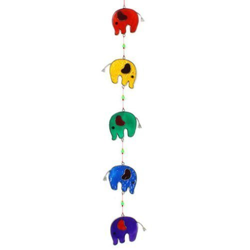 Colourful Elephant Stained Glass Sun Catcher Mobile - Bea...