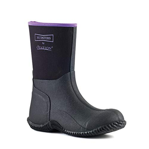 Ovation Mudster Mid Calf 9 inches Height Barn Rubber Boots, Black/Black/Purple, 41 (10-10.5 US)