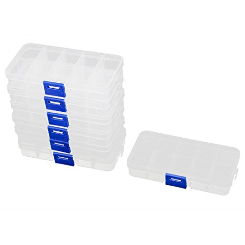 Storage Box - 7pcs Plastic 10 Sections Jewelry Screws Pills Holder Storage Box Clear - Crafts Lid Tight Handle Nursery Eboot Oils Figures Files Es