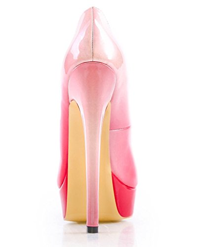 Toe PU Heel Dress Amy Handmade High Women On Shoes Pink Big Platform Party For Q Size Pumps Peep Slip UtCwRq