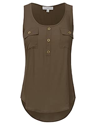 JJ Perfection Women's Solid Woven Scoop Neck Sleeveless Tunic Tank Top