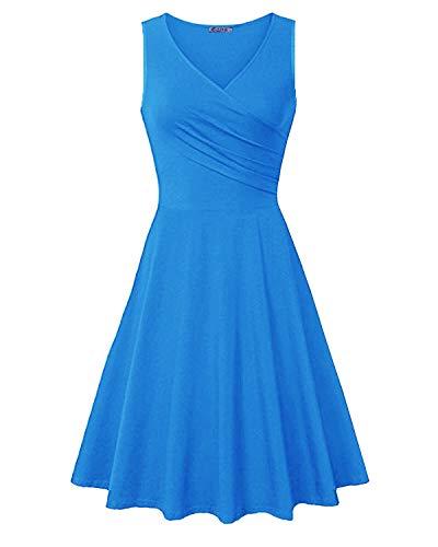 KILIG Women's V Neck Sleeveless Summer Casual Elegant Midi Dress(Blue-2,XL)