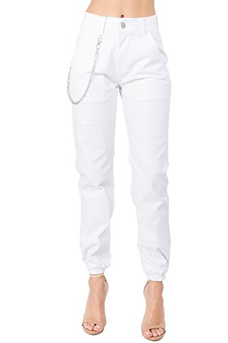 TwiinSisters Women's High Rise Slim Fit Color Jogger Pants - Size Small to 3X (Medium,White #Rjj775)