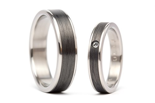 Set of two titanium and carbon fiber wedding bands. Originals black rings. Water resistant and hypoallergenic. (00333_4S7N)