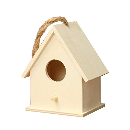 - Fan-Ling Wooden Bird House,Unique Design Birdhouse,3 Size Options Bird Box with A Trip Hole (C(12X7X10cm))