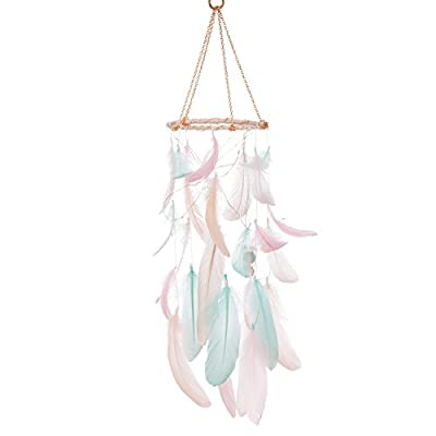 Ling's moment Feather Dream Catcher Mobile LED Fairy Lights Battery Powered Hanging Ornaments with Gold Dipped Glitter Feathers Bohemian Wedding Decorations, Boho Chic, Nursery Decor
