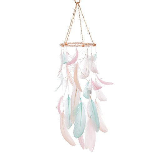Ling#039s moment Handmade Feather Dream Catchers for Kids Baby Crib Mobile LED Fairy Lights Macrame Wall Hanging Ornaments with Pink Blue Feathers Boho Decoration Baby Shower Boho Nursery Decor