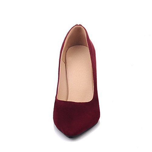 Balamasa Mujeres Charms Spikes Stilettos Low-cut Uppers Suede Pumps Zapatos Rojo