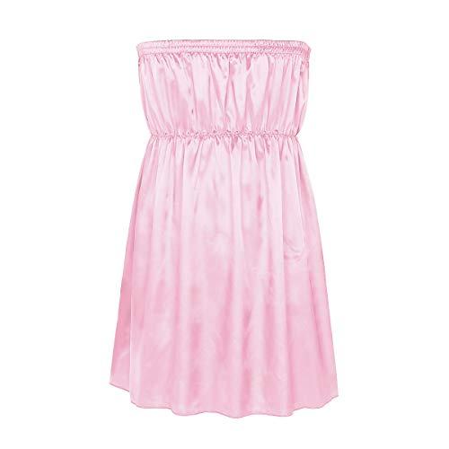 inlzdz Men's Sissy Lingerie Frilly Shiny Satin Strapless Dress Maid Girly Nightwear Pajamas Pink One_Size -