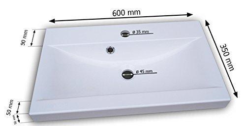 Bodega//Schwarz Hochglanz Spiegel Modernes Badezimmer Komplett H/ängeschrank M/öbel Hochschrank Badm/öbel Set Bella II mit Waschbecken und Siphon Waschtisch