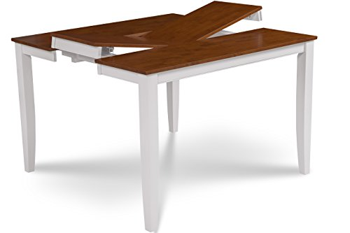 Trithi Furniture - Fullerton EXTENDABLE Counter Height Table (White (Height Butterfly Leaf Table)
