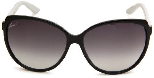 Gucci Women's 3162/S Rectangle Sunglasses,Black White Frame/Grey Gradient Lens,One Size