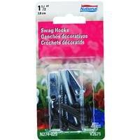 National Hardware N274-829 V2671 Swag Hooks in Black, 2 (Black Ceiling Hook)