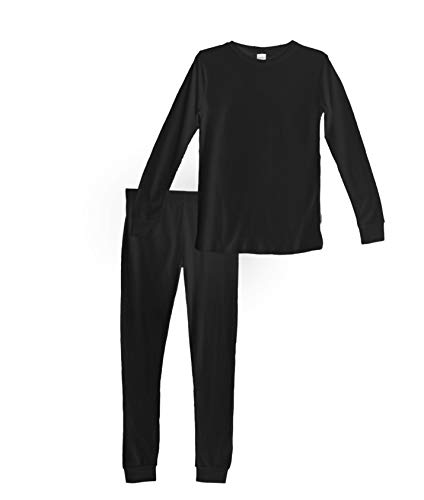 Habit Rags -- Boys and Girls Organic Bamboo Two Piece Thermal Underwear Long John Pajama Set for Toddlers and Big Kids (6, Midnight Black)]()