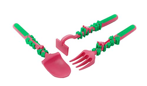 Constructive Eating Utensil - Constructive Eating CON-82000 Constructive Eating Set of Garden Fairy Utensils for Toddlers, Infants, Babies and Kids - Flatware Toys are Made in the USA with FDA Approved Material, PINK, Green