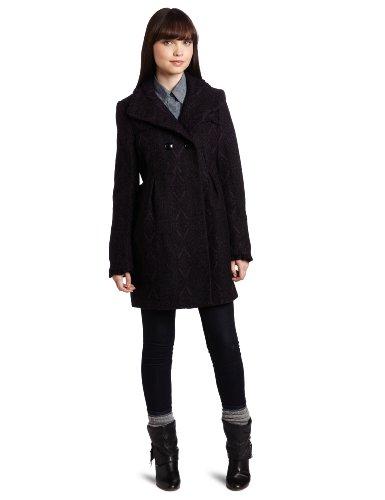 Steve Madden Women's Babydoll Coat, Plum Jacquard, Medium