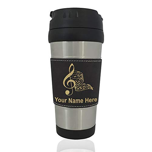 (Travel Mug, Musical Notes, Personalized Engraving Included (Black))