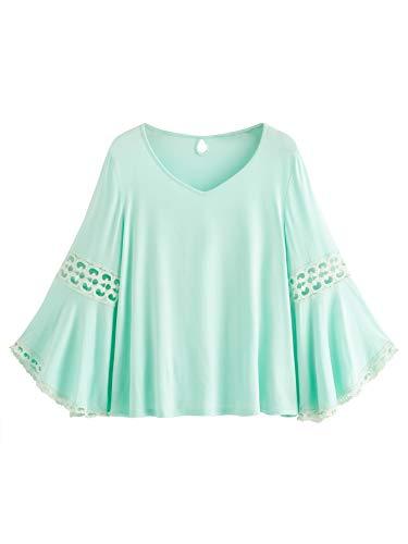 Blouse Lace V-neck - MakeMeChic Women's Bell Sleeve V Neck Contrast Crochet Lace Tee Shirt Blouse Top Blue L