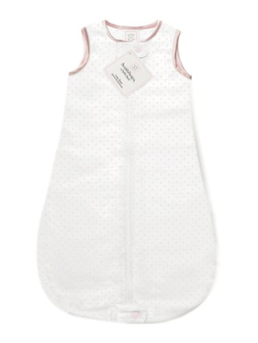 SwaddleDesigns Cotton Sleeping Sack with 2-Way Zipper, Made in USA, Premium Cotton Flannel, Pastel Pink Polka Dots, 6-12MO