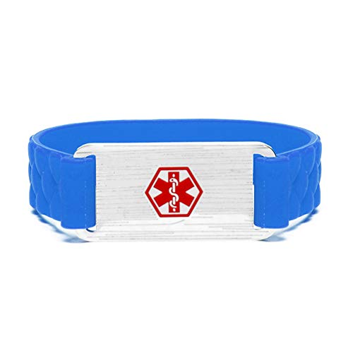 - Silicone Sports Medical Alert ID Bracelet Wristband for Children Blue, Free Engraving