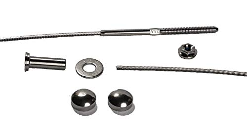 VistaView CableTec - Fast and Easy Stainless Steel Cable Railing Installation Kit for Residential Metal Posts - 1/8 Inch Cable, 20 Feet with Brushed Stainless Dome Caps