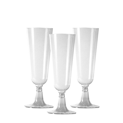 Party Essentials 20 Count Two-Piece Hard Plastic Mimosa/Champagne Flutes, 5 oz, Clear -