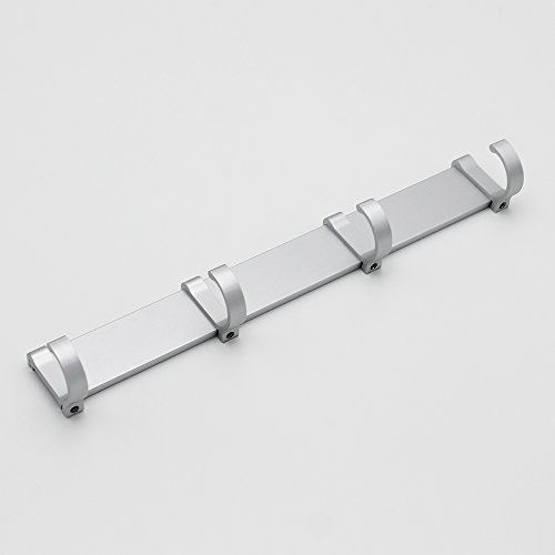 BOEN Coat Hook Rack/Rail with 4 Pronged Hooks Wall Mount Solid Aluminum,A2024H4-1 by BOEN (Image #2)