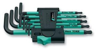 Wera 967 SPKL/9 TORX BO Tamper-Resistant Ergonomic Key Set with Two-Component Storage Clip, 9-Piece