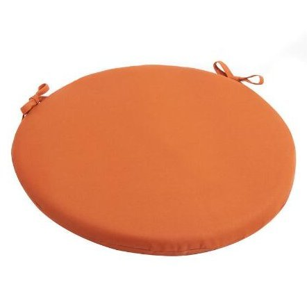 Arbor Gate Solid Tangerine Indoor/Outdoor Bistro Chair Cushion 15