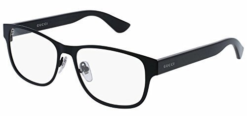 Gucci GG 0007O 001 Black Metal Rectangle Eyeglasses 55mm by Gucci