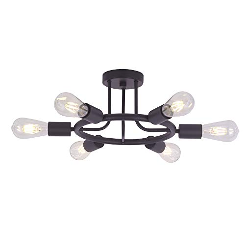 BONLICHT Modern Sputnik Chandelier Lighting 6 Lights Chandelier Oil-Rubbed Bronze Semi Flush Mount Ceiling Light Rustic Starburst Style Ceiling Lamp for Kitchen Dining Room Foyer Hallway ()