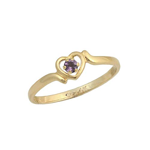 3 1/2 Children 14K Yellow Gold Genuine Rhodolite June Birthstone Heart Ring ()