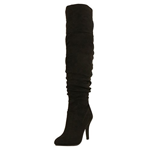 Forever Link Focus-36 Women's Fashion Stylish Pull On Over Knee High Sexy Boots,Black Suede,8.5 ()