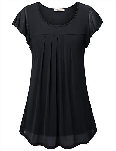 Timeson Business Tops for Women Short Sleeve, Women's Career Blouse Office Silk Satin Tunics Blouses Dressy Swing Summer T-Shirt Tops Womens Work Blouses Black Large