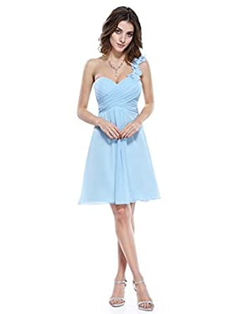 Ever Pretty One Shoulder Flowers Padded Ruffles Short Bridesmaid Dress
