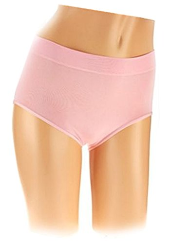 Breezies Seamless Full Brief Panties (1X - 3 Pair, Pink Combo)
