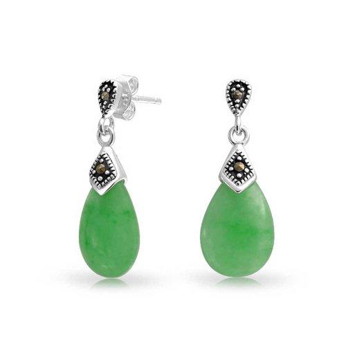 Dyed Green Jade Marcasite Pear Shaped Teardrop Dangle Stud Earrings For Women 925 Sterling ()