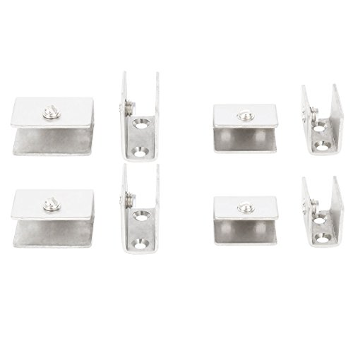 uxcell 8Pcs Adjustable Brushed Stainless Steel Guardrail Door Glass Shelf Clamp Brackets Clips - Holder Guard Rail