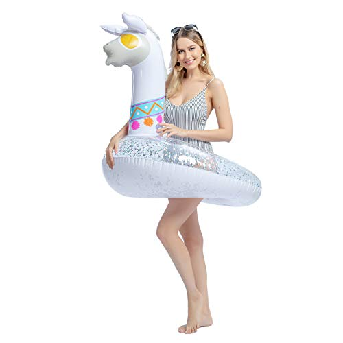 JOYIN Inflatable Llama Pool Float with Glitters, Pool Tubes, Fun Beach Floaties, Swim Party Toys, Pool Raft Lounger, Swimming Pool Party Decorations for Adults & Kids