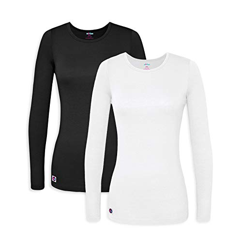 Sivvan Women's Comfort Long Sleeve T-Shirt/Underscrub Tee - S8500-2 - Black/White - -